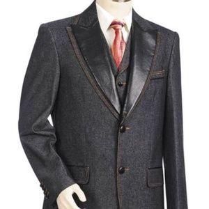 Other - Men's Denim 3pc. Suit W/ Faux Leather Lapel
